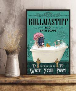 vintage bull mastiff bath soap wash your paws poster 3