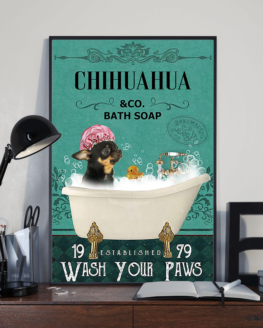 vintage chihuahua dog bath soap wash your paws poster 4