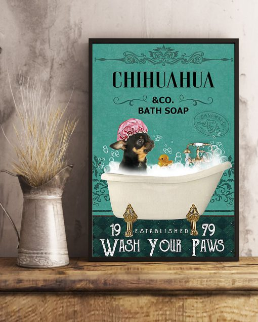 vintage chihuahua dog bath soap wash your paws poster 5
