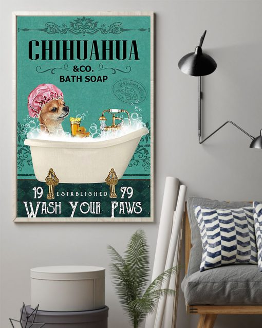 vintage chihuahua tequila bath soap wash your paws poster 2