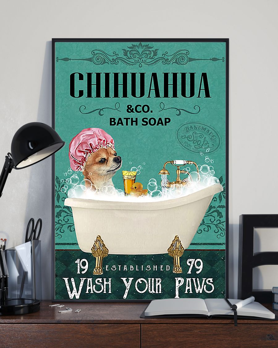 vintage chihuahua tequila bath soap wash your paws poster 4