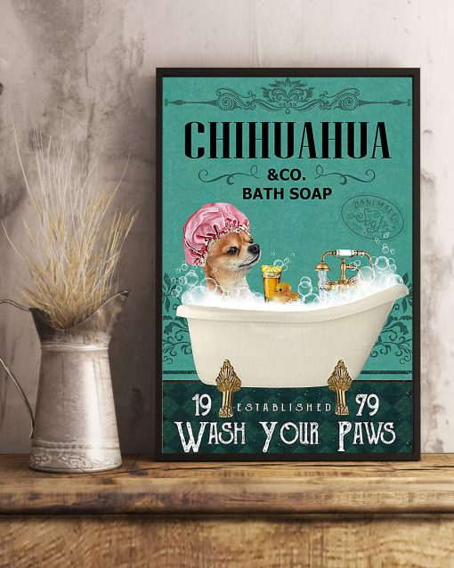 vintage chihuahua tequila bath soap wash your paws poster 5