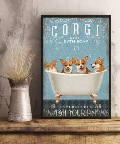vintage dog corgi bath soap wash your paws poster 5