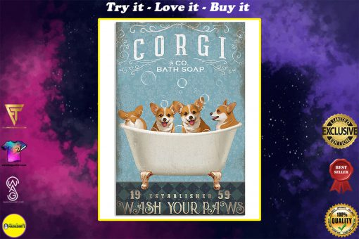 vintage dog corgi bath soap wash your paws poster
