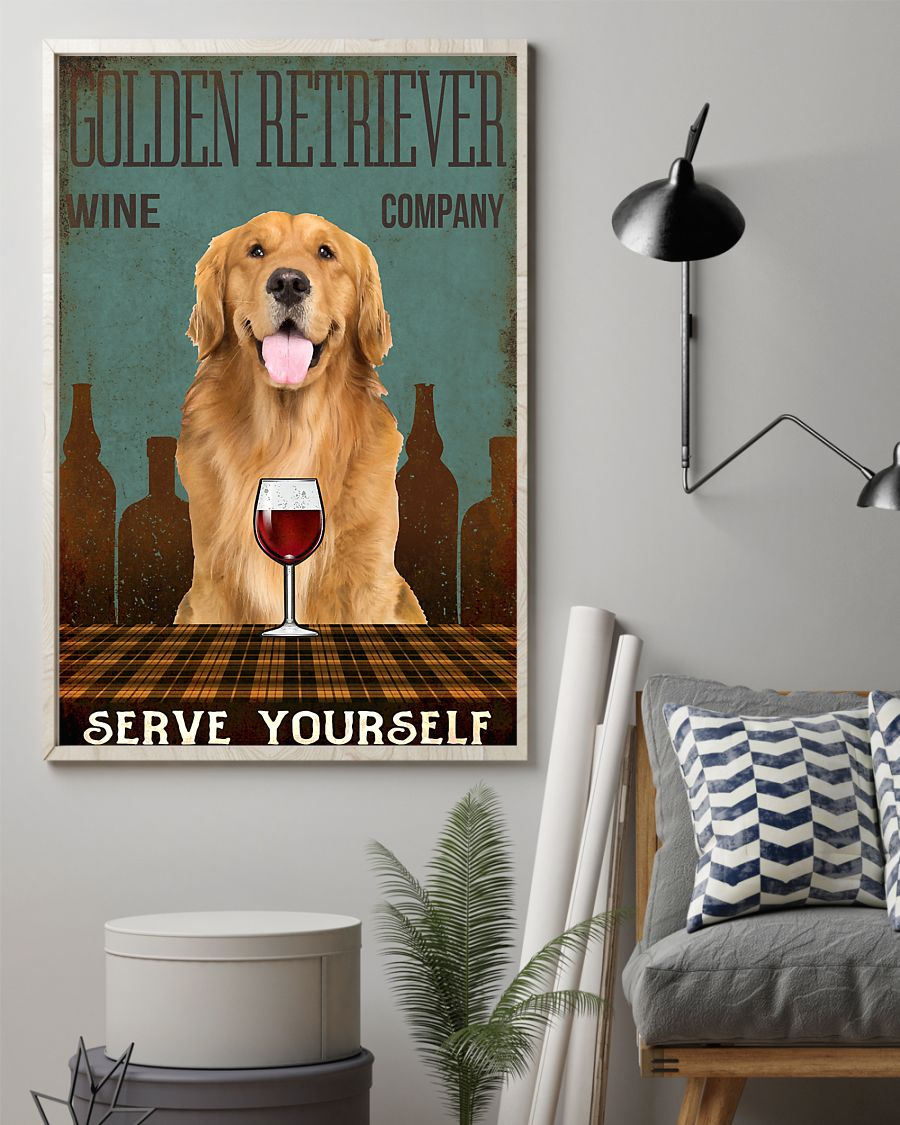 vintage dog golden retriever wine company serve yourself poster 2