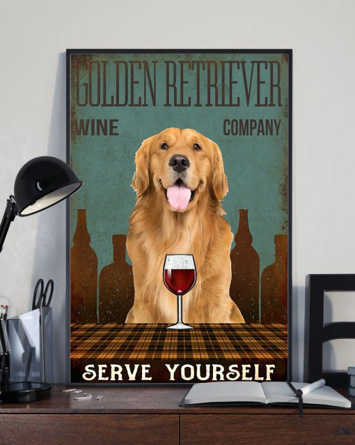 vintage dog golden retriever wine company serve yourself poster 4