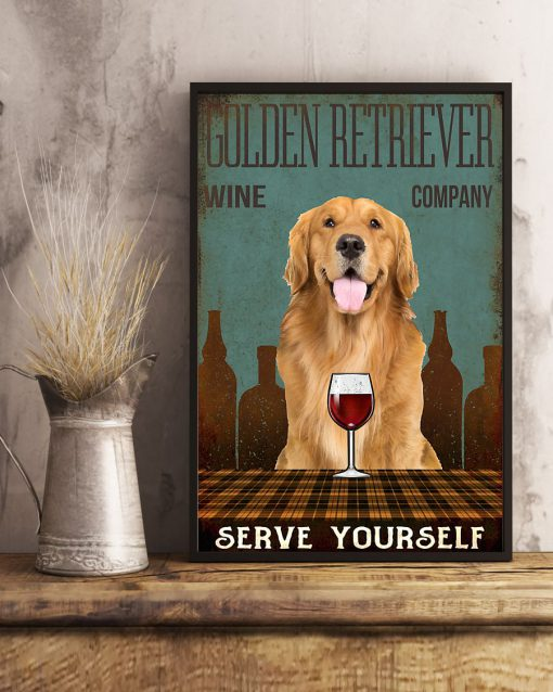 vintage dog golden retriever wine company serve yourself poster 5
