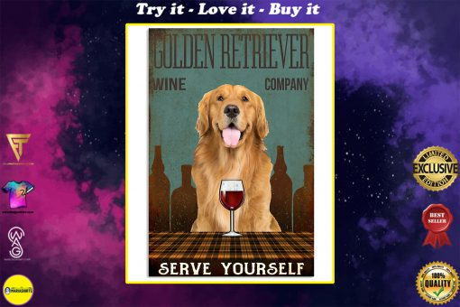 vintage dog golden retriever wine company serve yourself poster