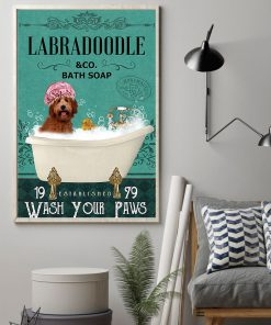 vintage dog labradoodle bath soap wash your paws poster 2