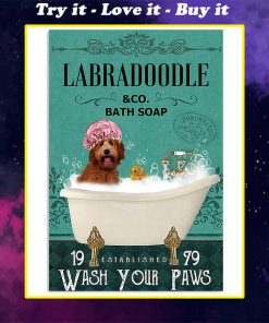 vintage dog labradoodle bath soap wash your paws poster