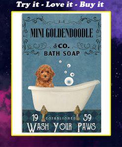 vintage dog mini golden doodle bath soap wash your paws poster