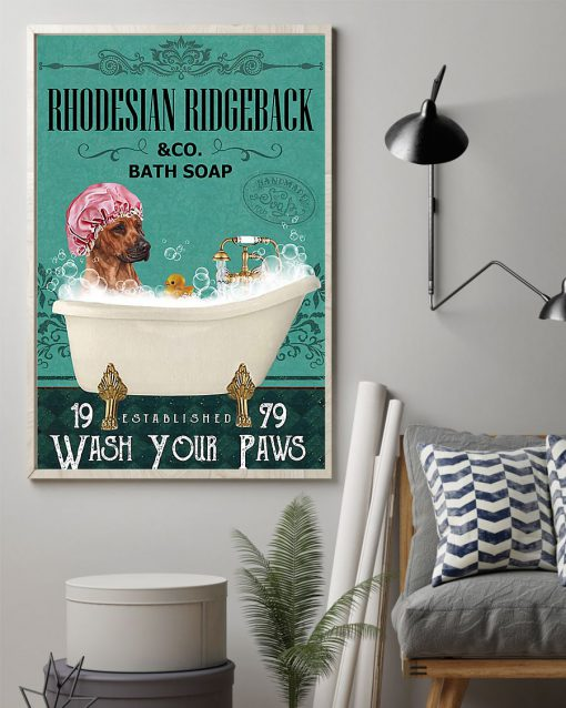 vintage dog rhodesian ridgeback bath soap wash your paws poster 2
