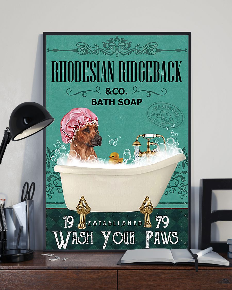 vintage dog rhodesian ridgeback bath soap wash your paws poster 3