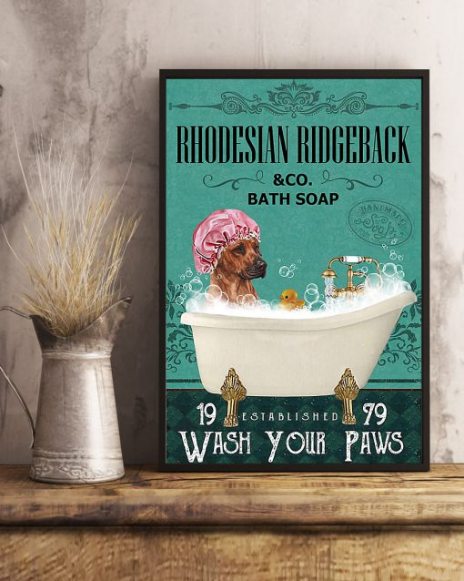 vintage dog rhodesian ridgeback bath soap wash your paws poster 5