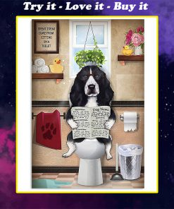 vintage english springer spaniel sitting on toilet great ideas poster
