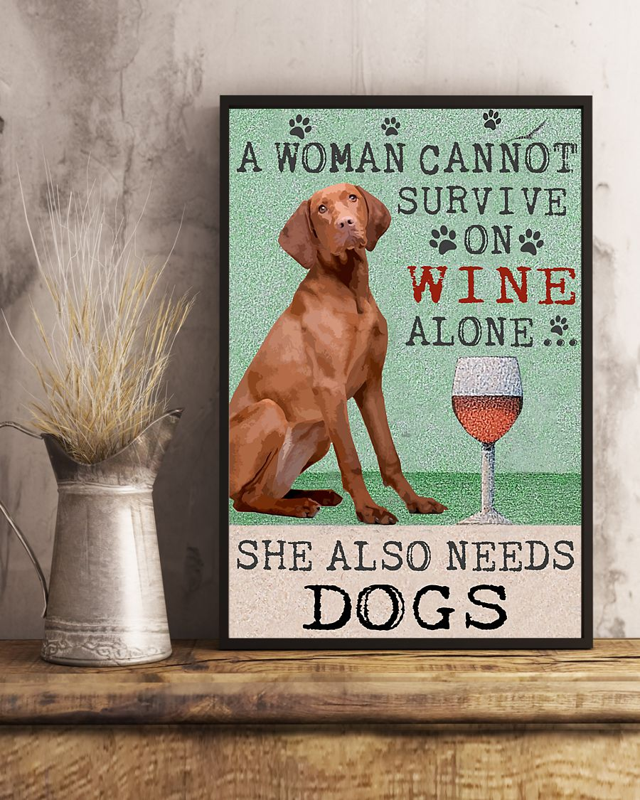 vintage hungarian vizsla dog a woman cannot survive on wine alone poster 5