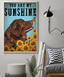 vintage newfoundland dog you are my sunshine poster 2