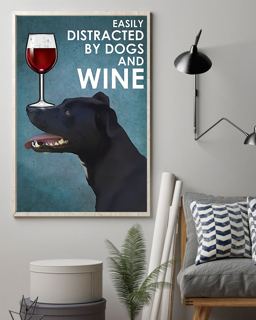 vintage patterdale terrier easily distracted by dogs and wine poster 2