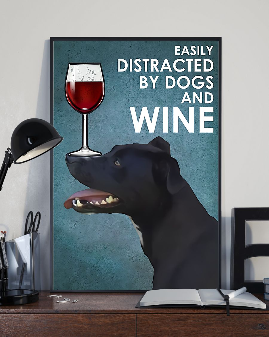 vintage patterdale terrier easily distracted by dogs and wine poster 3