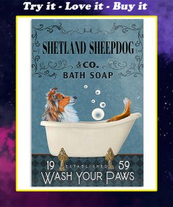 vintage shetland sheep dog bath soap wash your paws poster