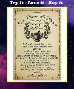 vintage the pharmacists prayer lord wall art poster