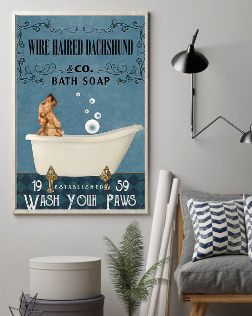 vintage wire haired dachshund dog bath soap wash your paws poster 2