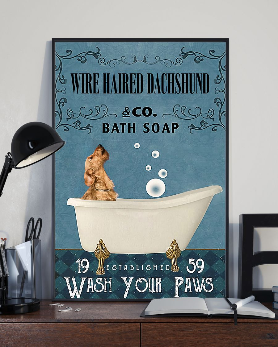 vintage wire haired dachshund dog bath soap wash your paws poster 3