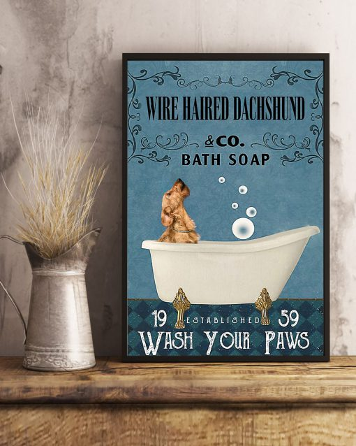 vintage wire haired dachshund dog bath soap wash your paws poster 5