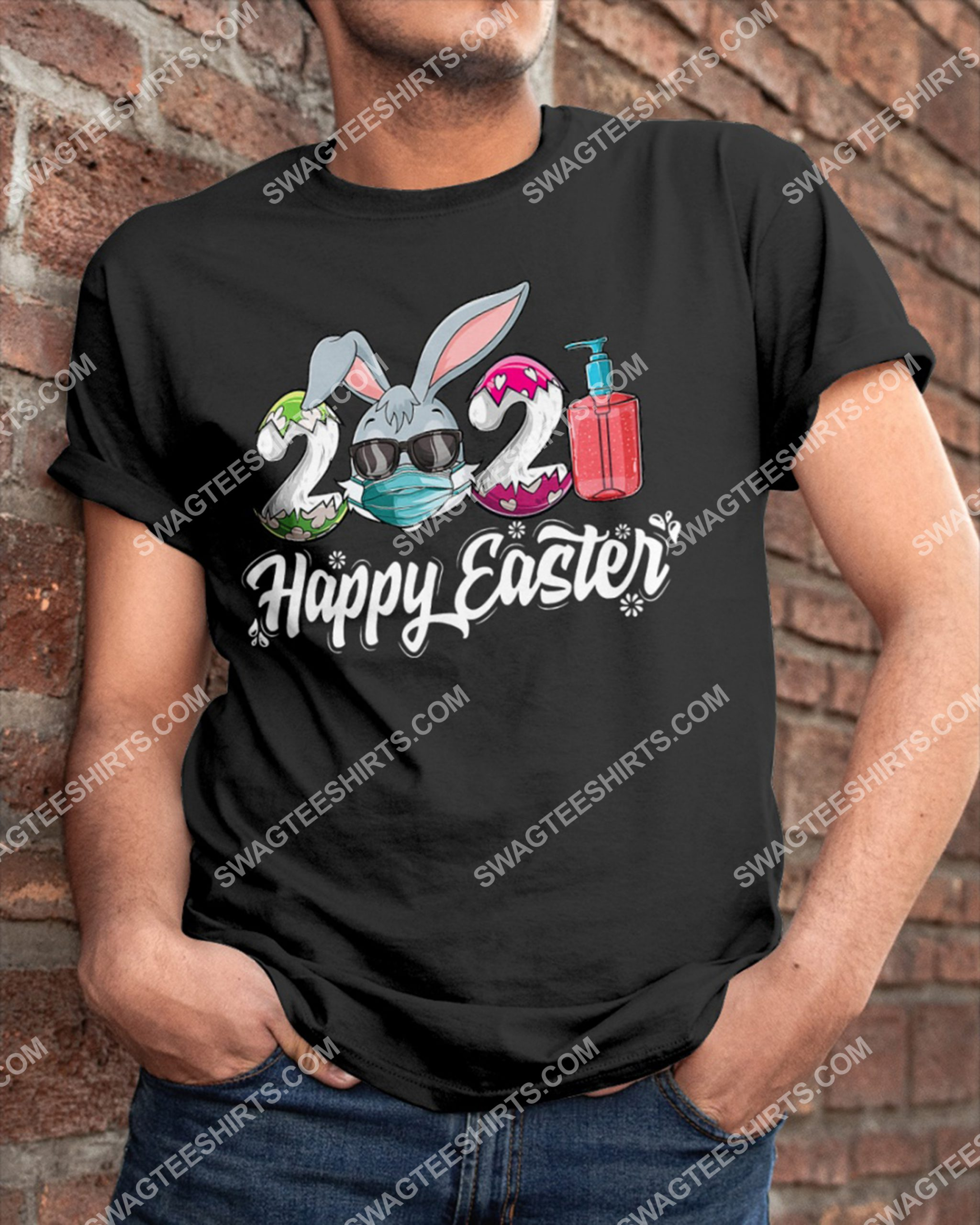 Happy Easter Day 2021 Bunny Wearing Mask Shirt 3(1) - Copy
