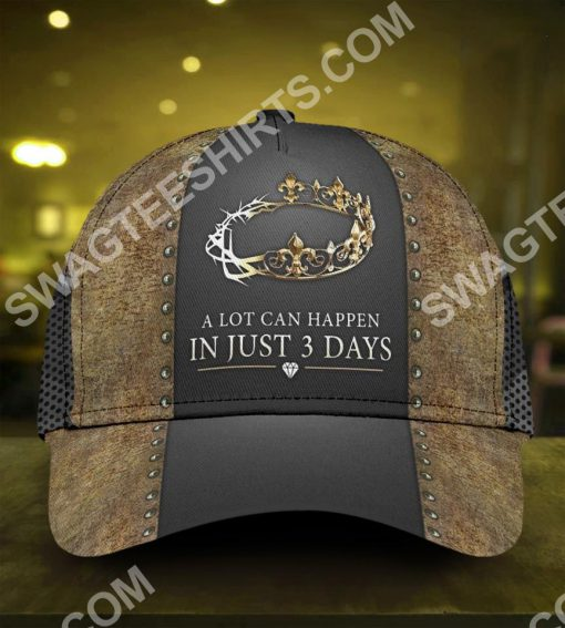 Jesus a lot can happen in 3 days all over printed classic cap 2(1)