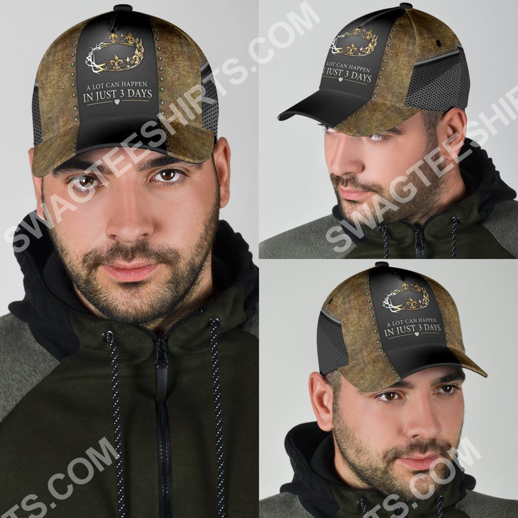 Jesus a lot can happen in 3 days all over printed classic cap 5(1)