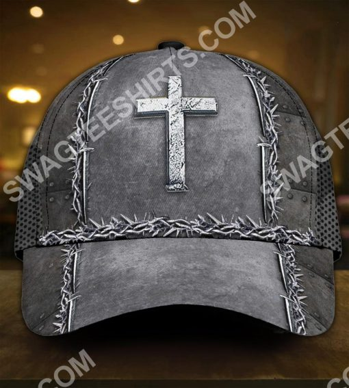 Jesus is my savior silver metal all over printed classic cap 2(1)