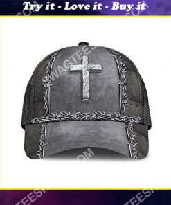 Jesus is my savior silver metal all over printed classic cap