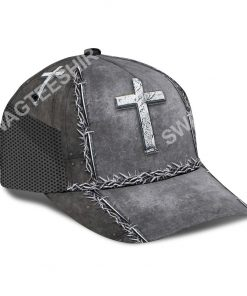 Jesus is my savior silver metal all over printed classic cap 3(1)