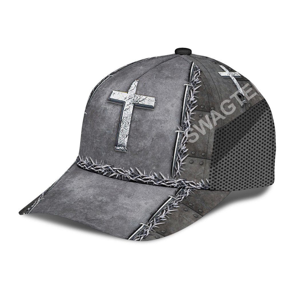 Jesus is my savior silver metal all over printed classic cap 4(1)