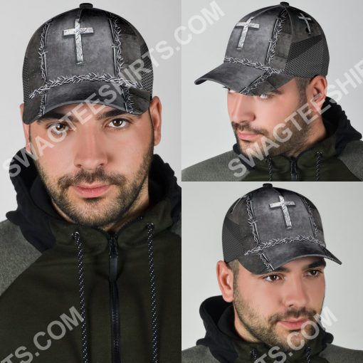 Jesus is my savior silver metal all over printed classic cap 5(1)