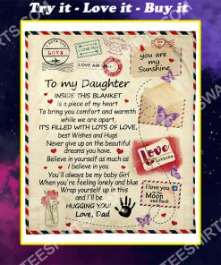 air mail to my daughter ill be hugging you your dad full printing blanket