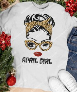 april girl wearing glasses and red lips birthday shirt 3(1)