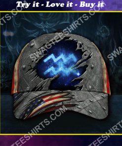 aquarius zodiac america flag all over printed classic cap