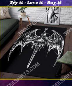 bat wing skull gothic pentagram sword all over print rug