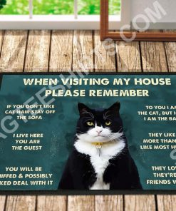 black cat when visiting my house all over printed doormat 2(1)