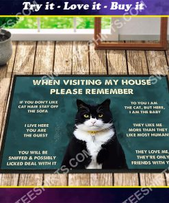 black cat when visiting my house all over printed doormat