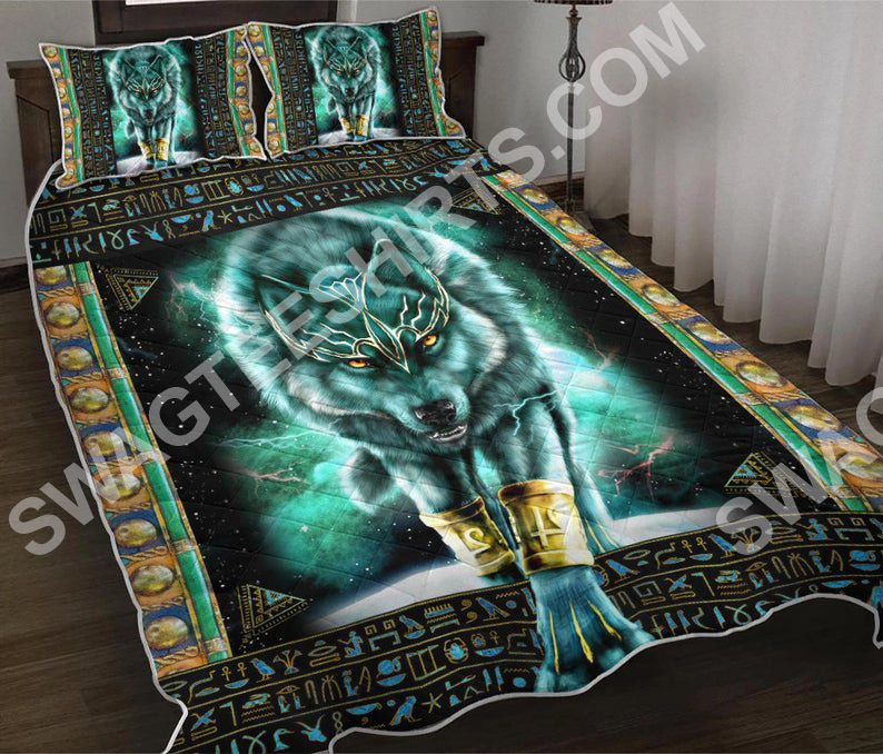 blue wolf viking all over printed bedding set 2(1)