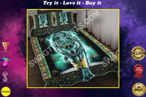 blue wolf viking all over printed bedding set