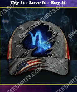 capricorn zodiac america flag all over printed classic cap