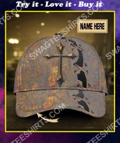 custom name Jesus cross all over printed classic cap