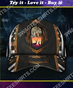 deer hunting forest all over printed classic cap