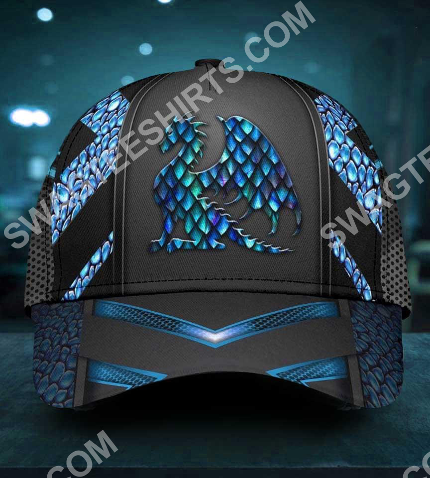 dragon blue pattern all over printed classic cap 2(1)