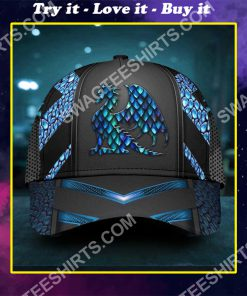 dragon blue pattern all over printed classic cap