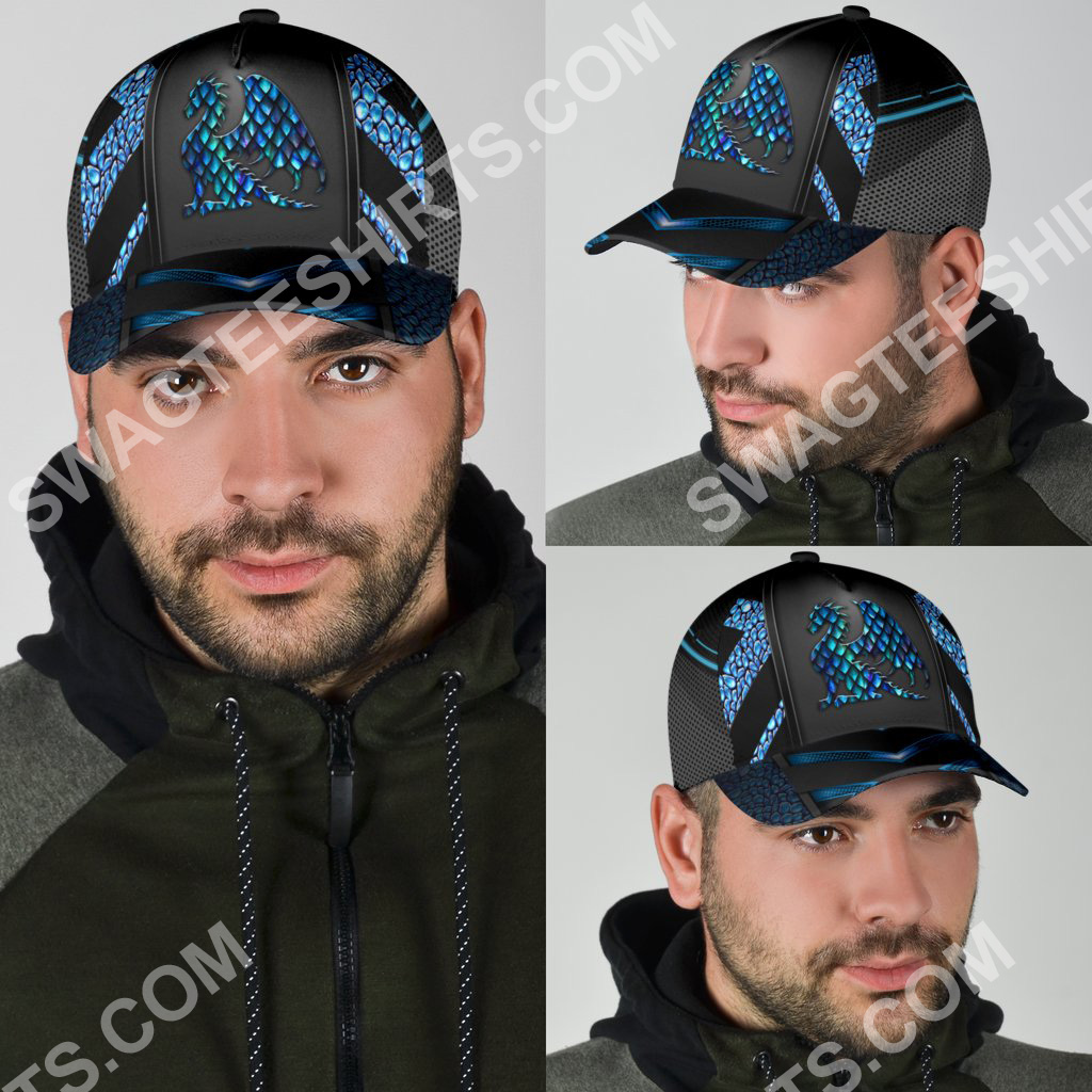 dragon blue pattern all over printed classic cap 5(1)